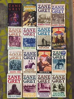 Zane Grey Western Used Paperback Novels, Lot Of 16 - Good Condition!
