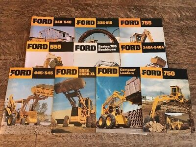 Lot of 10 Vintage Ford Industrial Equipment Construction Loaders Brochures Ads