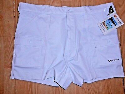 New Vintage 1970's Sportif White Cargo Hiking Tennis Shorty Shorts 42 Lycra