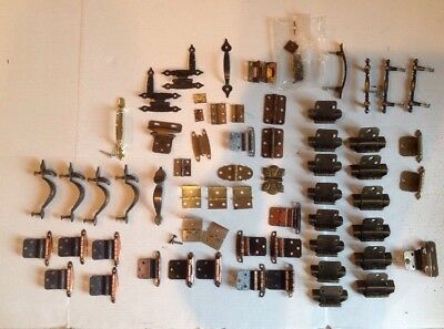 Mixed lot Vintage Cabinet Drawer Hardware Hinges Pulls And MORE