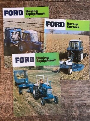 Lot of 3 Vintage Ford Farm Haying Equipment Rotary Cutters Brochures Dealer Ads