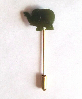 Vintage Carved Jade Elephant Stick Pin Goldtone