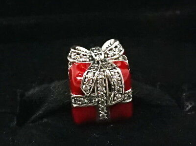 Authentic PANDORA Sterling Silver Red & Clear Sparkling Surprise Charm 791772CZ