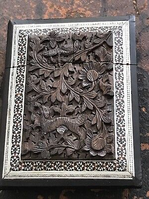 19c Anglo Indian Carved Card Case