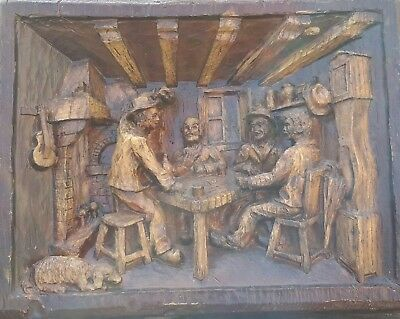 Decorative hand carved wooden wall plaque, Bavarian, men in bar scene, Quality