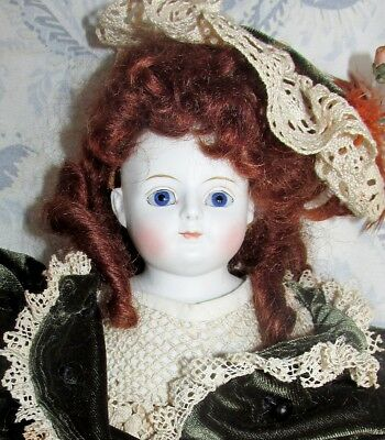 """Unusual Antique 17"""" Closed Mouth untinted bisque Parian French, German? doll"""
