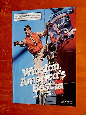 Vintage Bell Helicopter With Pilot For 1988 Winston Cigarettes Ad - Retro 80S