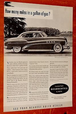 Neat 1952 Buick Roadmaster Hardtop Coupe Mpg Ad + Vintage Bell Telephone Ad Back