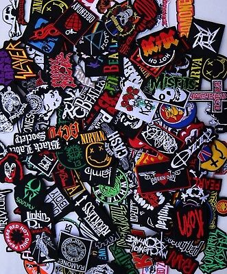 Random Lot of 40 Rock Band Patches Iron on Music Punk Roll Heavy Metal Sew