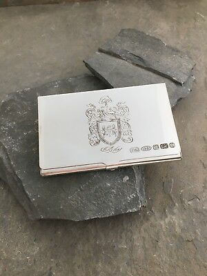 Sterling Silver Visiting Business Card Case With Crest