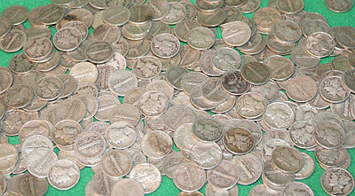 Mercury Dimes Four ounces 90% silver Assorted USA Coins minted 1916-1945