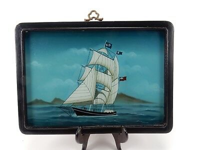 Chinese Reverse Painting on Glass Nautical Ship 14 inches