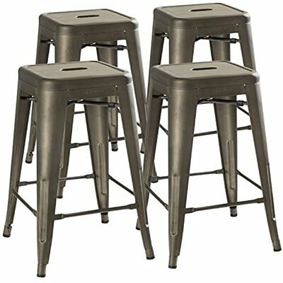 """24"""" Counter Height Bar Stools, (RUSTIC GUNMETAL) By UrbanMod, Set Of Stackable,"""