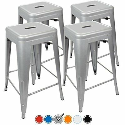 24 Counter Height Bar Stools (SILVER) By UrbanMod, Set Of Stackable, Kitchen