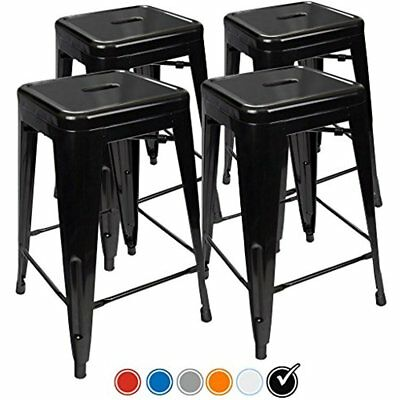 24 Counter Height Bar Stools, (BLACK) By UrbanMod, Set Of Stackable, Kitchen