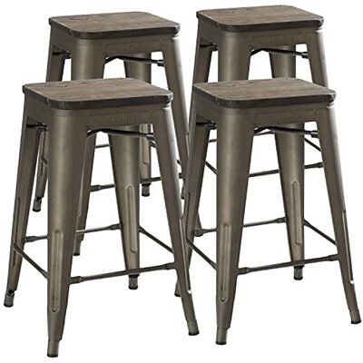 """24"""" Counter Height Bar Stools (RUSTIC GUNMETAL & Wooden Seat) By UrbanMod, Set"""