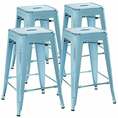 """24"""" Counter Height Bar Stools (Distressed Powder Blue) By UrbanMod, Set Of 330LB"""