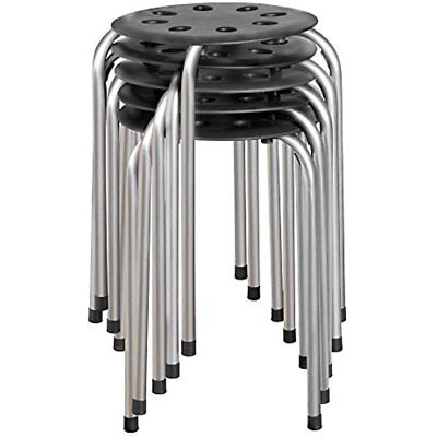 """NOR-STOOLBS-SO Plastic Stack Stool, 17 3/4"""" Height, 11 Width, Length, Black With"""