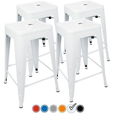 24 Counter Height Bar Stools, (WHITE) By UrbanMod, Set Of Stackable, Kitchen