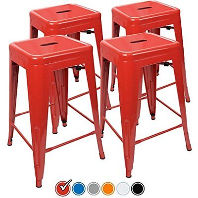 24 Counter Height Bar Stools, (RED) By UrbanMod, Set Of Stackable, Kitchen 330LB