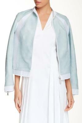NWT Elie Tahari Ice Blue SUELLA  Leather Jacket