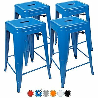 24 Counter Height Bar Stools, (BLUE) By UrbanMod, Set Of Stackable, Kitchen