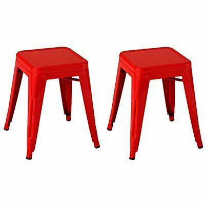 Tolix Style Metal Industrial Stack Stool, Red, NOR-IAH3021-RD-SO (Pack Of 2)
