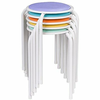 Assorted Color Metal Stack Stool With Padded Seat, ALT-1100-SO (Pack Of 5)