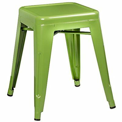 Tolix Style Metal Industrial Stack Stool, Green, NOR-IAH3021-GR-SO (Pack Of 2)