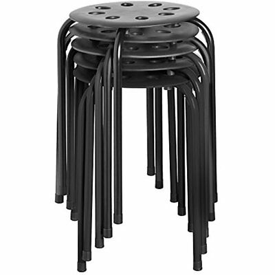 """NOR-STOOLBB-SO Plastic Stack Stools, 17 3/4"""" Height, 11 Wide, Length, Black Legs"""