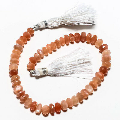 "Faceted Carnelian Natural Gemstone Beads Strand Length 10"" 115 Ct."