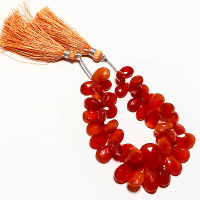 "Faceted Carnelian Natural Gemstone Beads Strand Length 6.5"" 190 Ct."