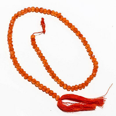 "Faceted Carnelian Natural Gemstone Beads Strand Length 13"" 50 Ct."