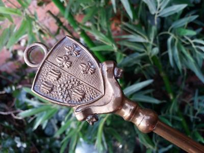 19 inch vintage old brass and steel open coal fire place poker Shield on handle