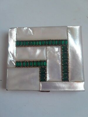 Vintage Exquisite Art Deco Makeup Compact, Thick Mother of Pearl, Green Stones !