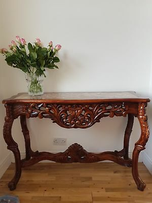 Antique Style Reproduction Mahogany Marble Top Console Table