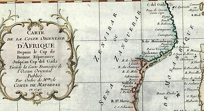 Southern Africa Hottentots Cafres Zanguebar c.1750 Bellin old map