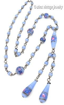 Vintage ART DECO Long VENETIAN wedding cake Glass BLUE pink bead silver NECKLACE