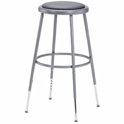 """6424H Grey Steel Stool With Vinyl Upholstered Seat Adjustable, 25""""-33"""""""