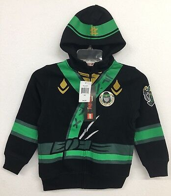 Lego Ninjago Boys Green Ninja Full-Zip Black Hoodie Lloyd Costume Sz 5/6 NWT $42