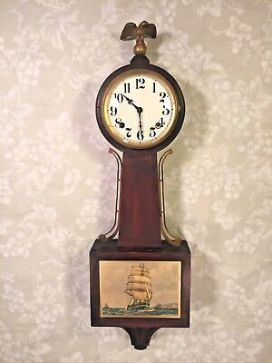 Vintage E Ingraham Mahogany Banjo Clock Yankee Clipper Model Runs & Strikes