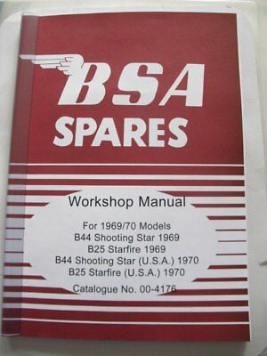 00-4176 BSA B44 SHOOTING STAR B25 STARFIRE 1969 UK WORKSHOP MANUAL 1970 US model