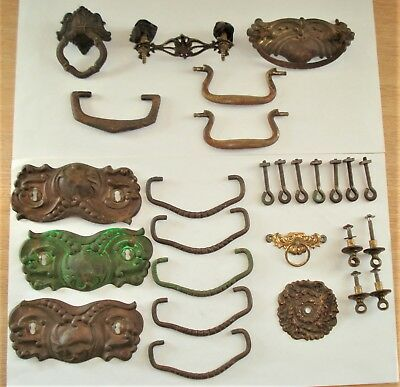 Vintage Estate Lot Victorian Brass Drawer Pulls & Parts... Restore...Crafts