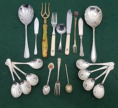 Job lot of 20 bits of Silver Plated & Chrome Cutlery Spoons Forks & Knives