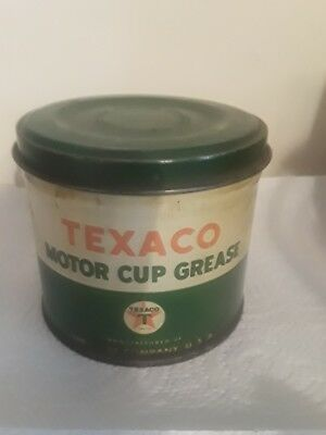 Vintage Texaco Motor Cup Grease Can 1 lb Old Oil & Gas Advertising