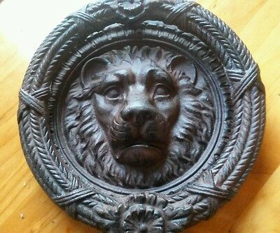 Gothic Vintage Style Ornate Patina Heavy Iron  Lion Head Front Door Knocker