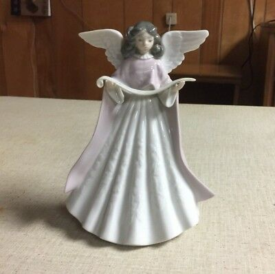 Lladro Girl Angel Holding Music Sheet Tree Topper Made in Spain