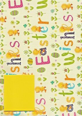 Happy easter gift wrap wrapping paper 2 sheets spring flowers 2 x sheets of easter wishes gift wrap wrapping paper 1 tag cute chicks negle Image collections