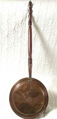 Antique Copper Bed Warmer Pan - Turned Wooded Handle - ?1800's
