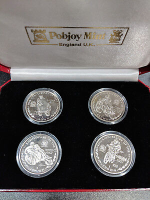 1997 Isle of Man 90TH Anniversary of the TT Races 4 crown coin set in box UNC
